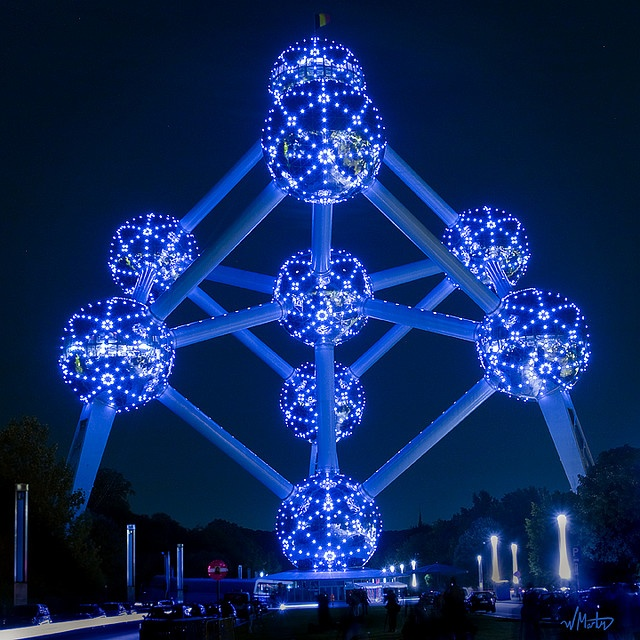 Can you even go in at night? It's fairly cool to go inside, but I've never even seen it at night.  Atomium by Bill  M, via Flickr