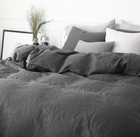 Washed Charcoal Dark Gray Colored Linen Soft Twin Queen Size Bedding Set