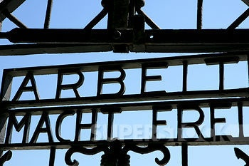 SuperStock - Dachau Concentration Camp. Main gate: Arbeit macht frei. (Work sets you free)