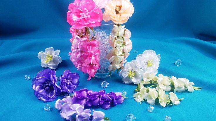 Ribbon flowers for the hairstyle/Flores de las cintas para el peinado/Цв...