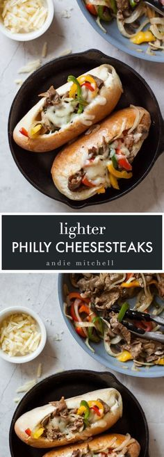 Lighter Philly Cheese Steak Sandwiches - this recipe is just as delicious as a traditional steak sub, with half the calories! Loaded with onions, peppers, mushrooms, and leaner shaved steak - and topped with provolone cheese!