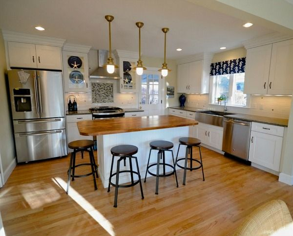 Nautical Cape Cod Beach House Kitchen in Maine AFTER Remodel | hookedonhouses.net