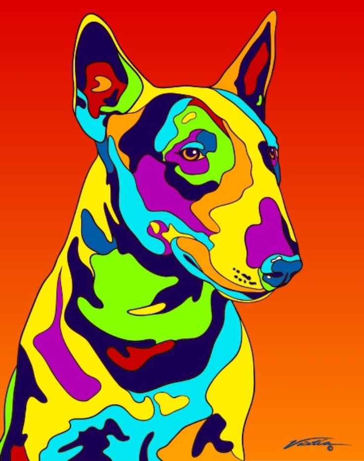 Multi-Color Bull Terrier Dog Breed Matted Prints & Canvas Giclées