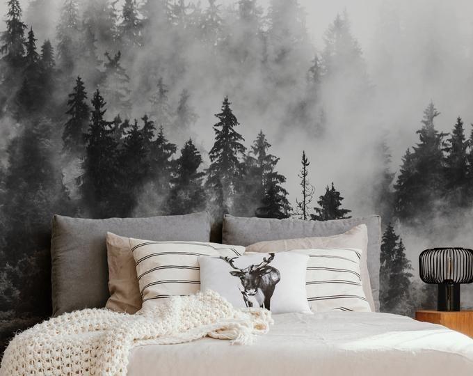 Simple Grey And White Color Wallpaper Wall Mural Lotus Floral Wall Mural Bedroom Living Room Wall Murals Wall Decor Carta Da Parati In Tessuto Carta Da Parati Wallpaper Con Foreste