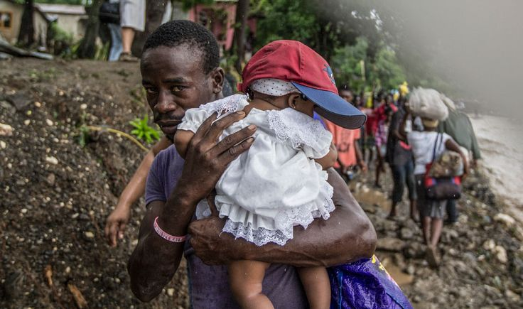Haiti hit by Hurricane Matthew, October 2016    On October 4, 2016, Hurricane Matthew swept through Haiti, killing more than 800 people and leaving thousands displaced and living in temporary shelters. The category 4-strength storm, with winds gusting to 230 km/h, heavy rain and flooding, caused massive damage to infrastructure, homes and crops in many communities, increasing the risk of waterborne diseases.