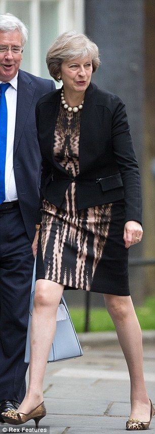 Smart and svelte and slimming: a panelled dress and the PM's trademark kitten heels...