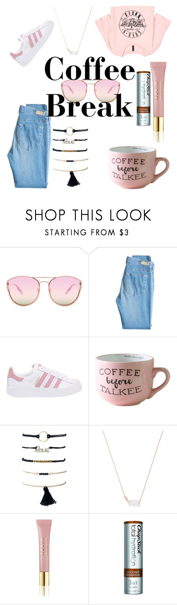 """""""Coffee☕☕"""" by marndt433 on Polyvore featuring Quay, AG Adriano Goldschmied, adidas Originals, Kendra Scott, AERIN and Chapstick"""