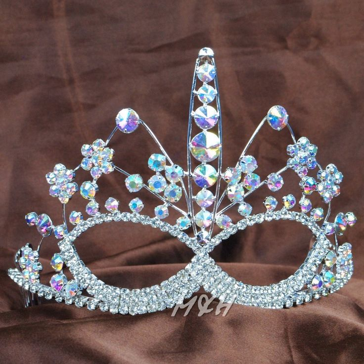 Face Mask Style Tiara Hair Combs Clear Austrian Rhinestone For Women Beauty Pageant Prom Party Brides Hair Jewelry