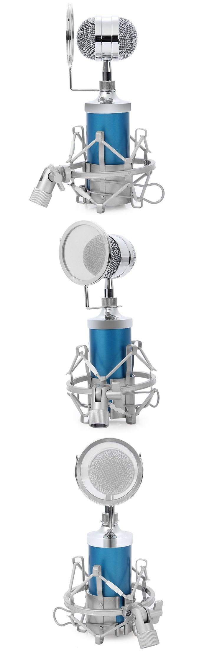 for KTV Karaoke BM-8000 Sound Studio Recording Condenser Wired Microphone With 3.5mm Plug Stand Holder Pop Filter Blue
