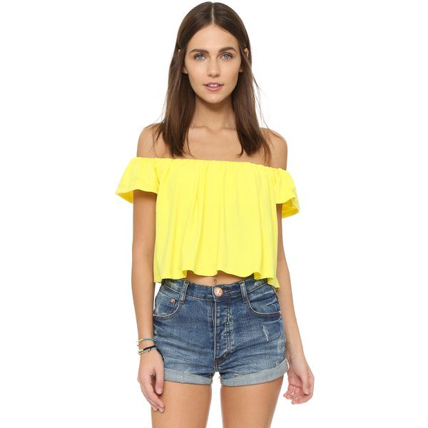 Susana Monaco Drapey Off the Shoulder Top ($115) ❤ liked on Polyvore featuring tops, lemon tonic, off shoulder short sleeve top, short sleeve crop top, short sleeve tops, drape top and crop top