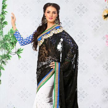 Black and Off White Faux Georgette Brasso Saree with Blouse