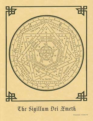 """Enochian Talisman, created by Dr. John Dee in the Elizabethan era. Used in Enochian and other High Ceremonial magickal systems. Size: 8 1/2"""" x 11"""""""