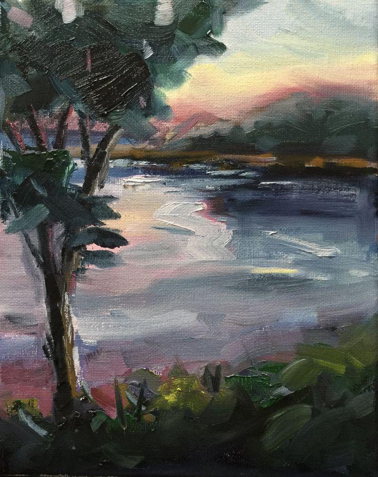 Vicki Bosworth: Blackmans Bay VII Oil on linen 10 x 8 inch