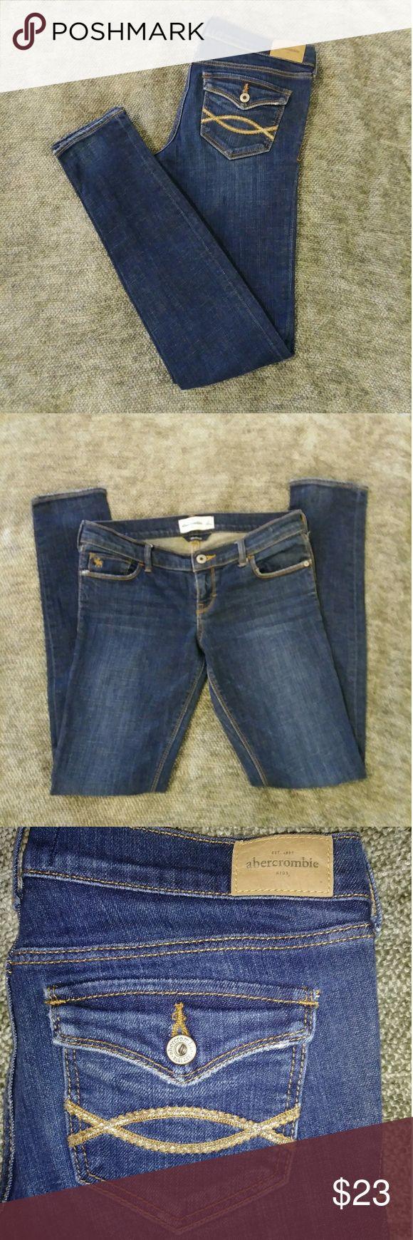 """Abercrombie Kids Skinny Jeans Size 16 Abercrombie kids skinny jeans size 16 very very lightly used!Cute stretch,low waist.Inseam 29.5"""",waist flat 14.5"""",leg bottom 3.75"""". abercrombie kids Bottoms Jeans"""
