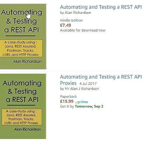 """""""Automating and Testing a REST API"""" is now available as a paperback on [Amazon]  It has been out as an ebook since January but I wanted it to:  - Settle down - Receive some comments - Proof read it gradually over time  And I'm glad I did.  Based on comments I added three or four new chapters to go beyond the set of topics that a Case Study could provide and the book now has generic information on:  - Serialising and Deserialising to/from JSON and XML with REST Assured - Overview of HTTP and…"""