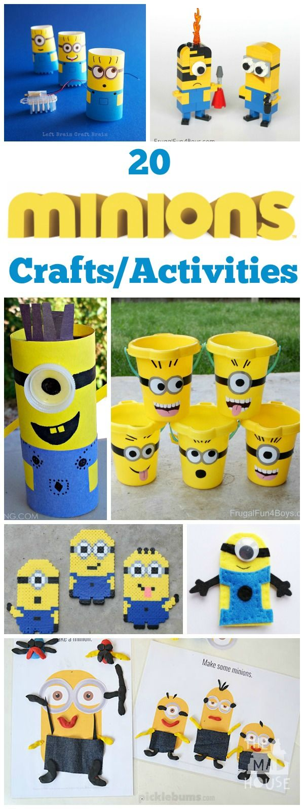 20 Minions crafts and activities for kids of all ages.  Join in the Minions craze with this selection of MInion Crafts, activities, food and free printables.  There is something to keep any child occupied here.