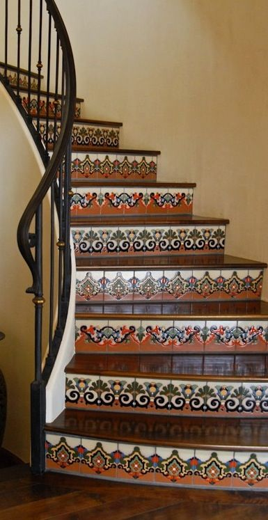Spanish Colonial hand painted tile steps                                                                                                                                                                                 More