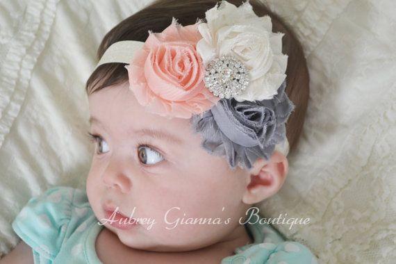 Baby Headband Grey peach and Ivory Headband by AubreyGianna