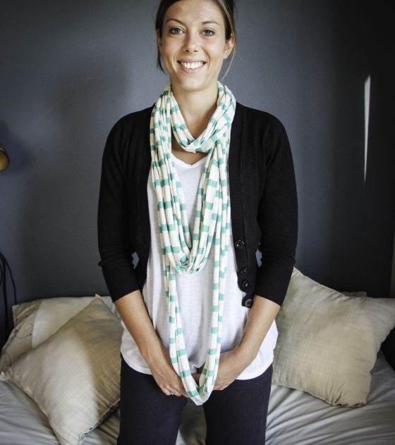 Oatmeal & Green T-Shirt Necklace / Scarf. Can be worn in so many different ways!! Shop @ www.wave2africa.com