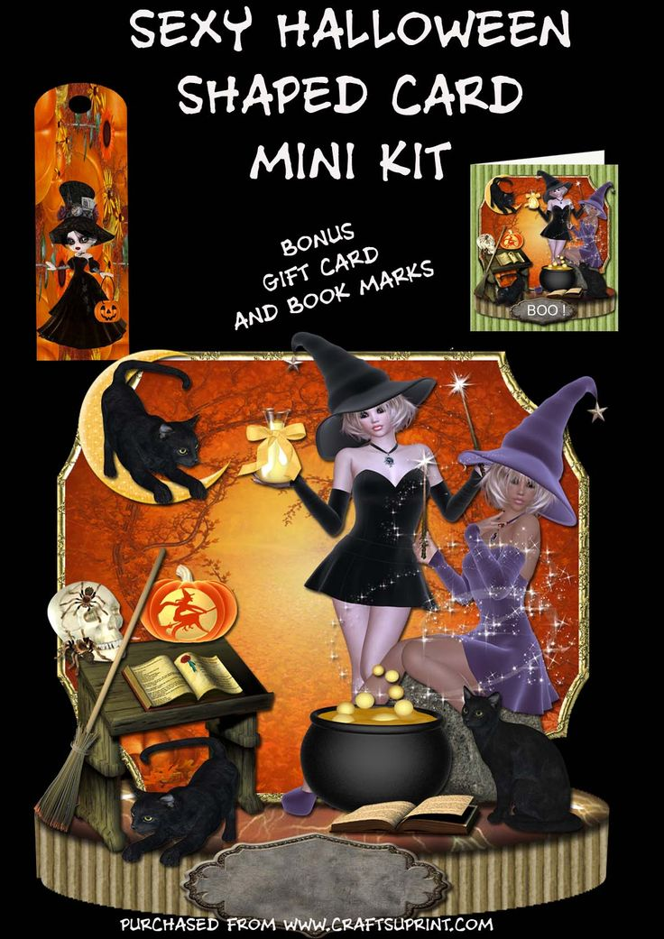 Sexy Witches Shaped Halloween Card Kit