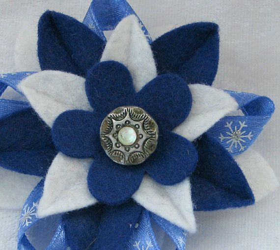 Hanukkah felt flower pin with vintage button and snowflake ribbon