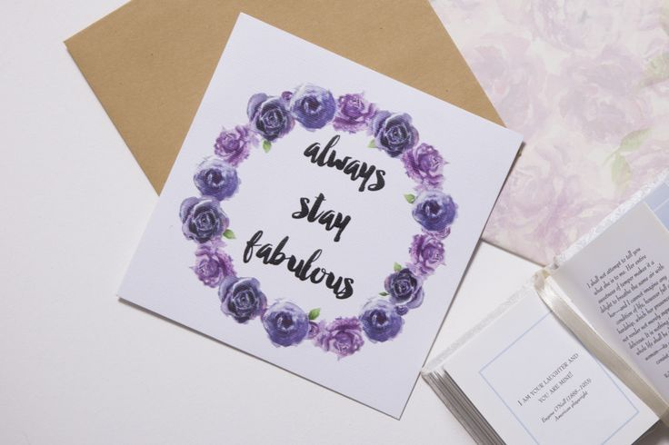'Always stay fabulous' gift card. Thick, matte and textured card Embossed text and floral wreathe Handpainted, watercolour florals  #giftwrap #wrappingpaper #craft #paper #watercolour #florals #card #giftcards #quotes #inspiration #celebrate #birthday