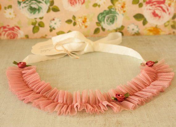 Newborn Headband Unique Tie Back Pink Tulle by BeautyfromashesUSA