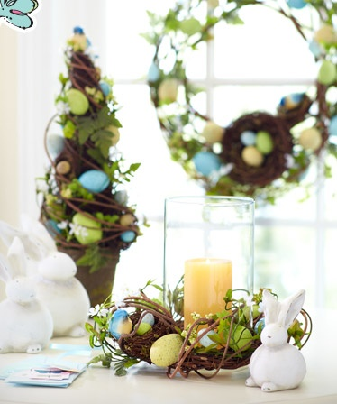 I LOVE THIS!Candles Decor, Hurricane Candles, Easter Centerpieces, Grape Vines, Easter Tables, Easter Decor, Pier One, Candle Decorations, Center Piece