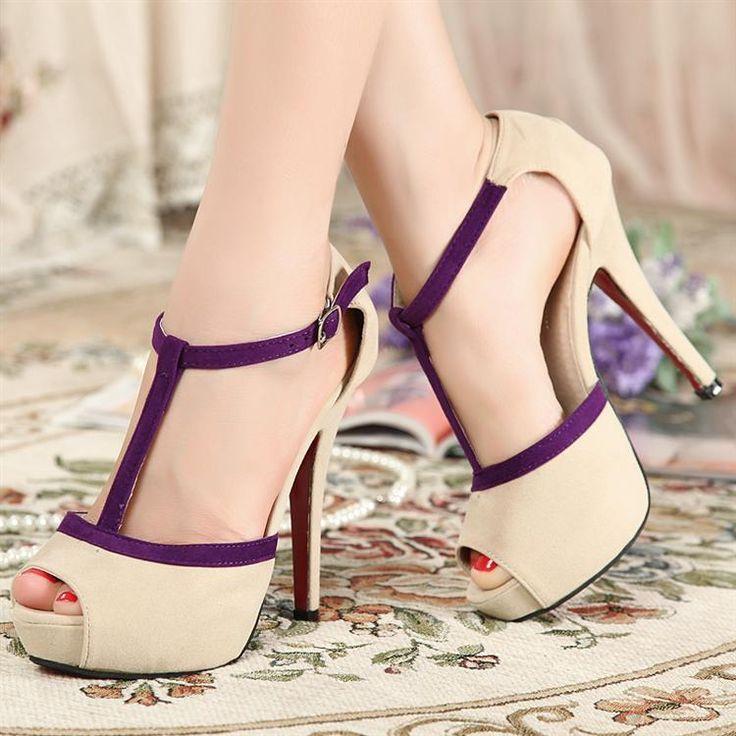 Female shoes 2013 summer t belt high-heeled shoes open toe shoe thin heels nubuck leather women's sandals