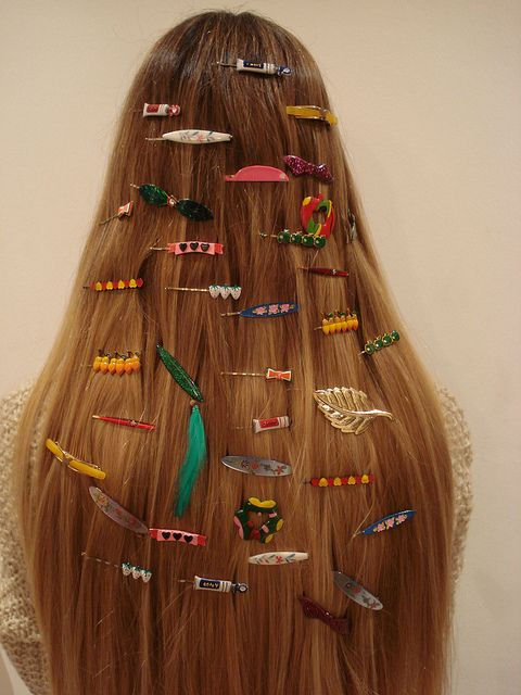 lots of hair clips.