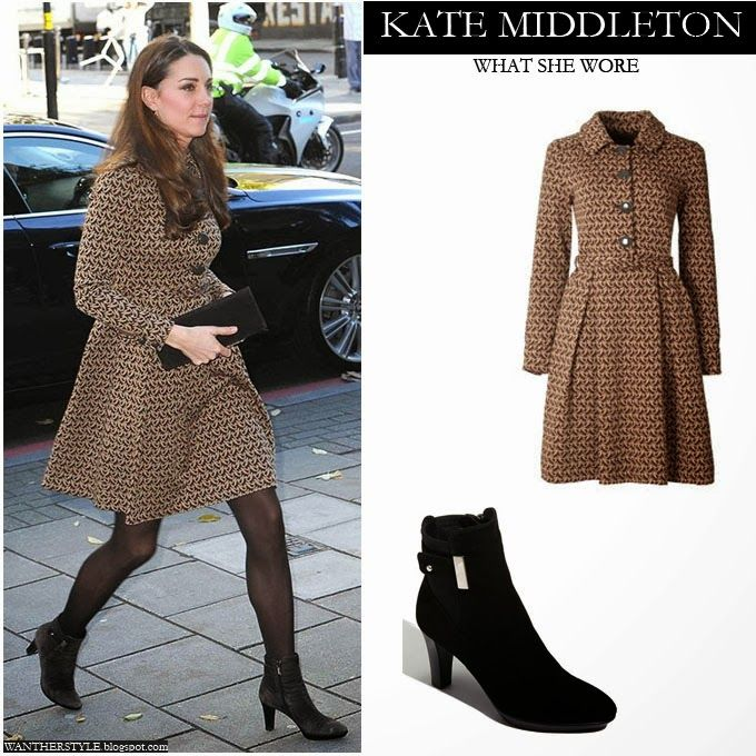 Kate Middleton Duchess Of Cambridge In Brown Print Long
