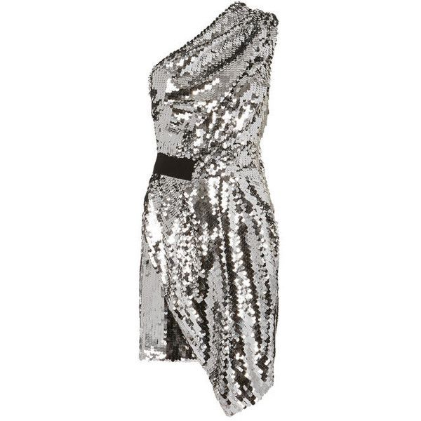 Carven One Shoulder Sequin Dress found on Polyvore featuring polyvore, women's fashion, clothing, dresses, short dresses, silver, metallic cocktail dress, white one shoulder dress, white mini dress and sequin mini dress