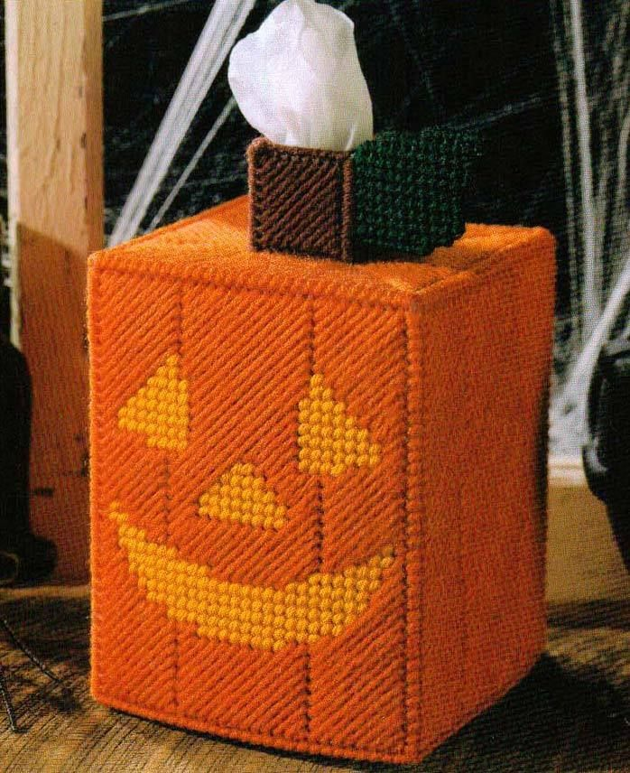 JACK-O-LANTERN TISSUE BOX COVER PUMPKIN PLASTIC CANVAS PATTERN INSTRUCTIONS…