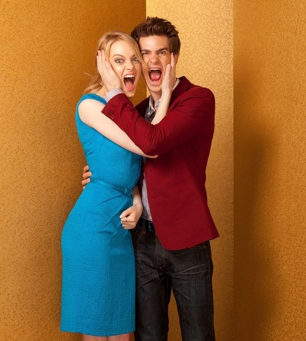 Here's another pic of them being silly together: | Emma Stone And Andrew Garfield Won 2012