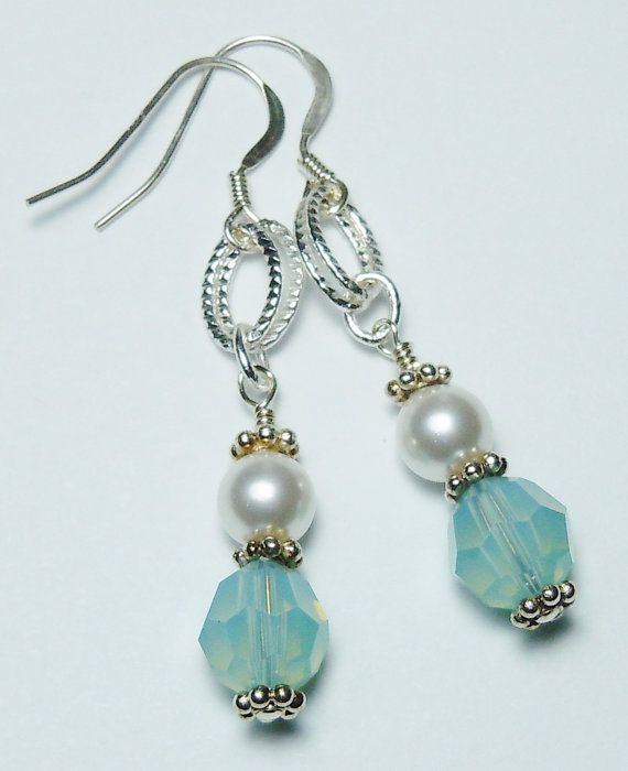 Swarovski White Pearl and Pacific Opal Earrings by BestBuyDesigns
