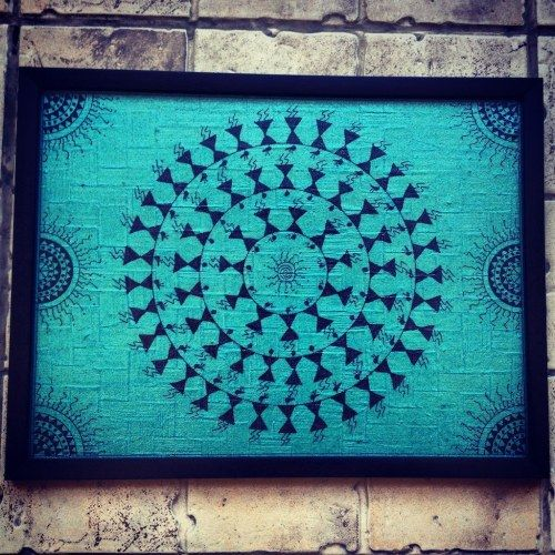 Handmade Hand Painted Warli frame with UV safe lamination (no glass) on colourful handmade textured paper