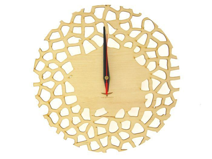 """Handmade Wall Clock """"Giraffe""""This amazing wooden clock is a great decoration specially for you. Having such an accessory on your wall means that you like sophisticated things in your interior. The clock has unique modern design and also build-in silent mechanism. Made of natural materials, what is important for the environment. Our clock is carefully cut out with precision laser cutter machine, from selected quality wood. Great choice for a gift.Material: 3mm plywood,Mechanism: prec..."""