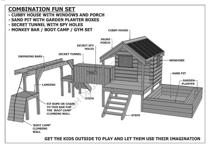 Cubby Play House Sand PIT Tunnel Play GYM Combo Building Plans V1 | eBay