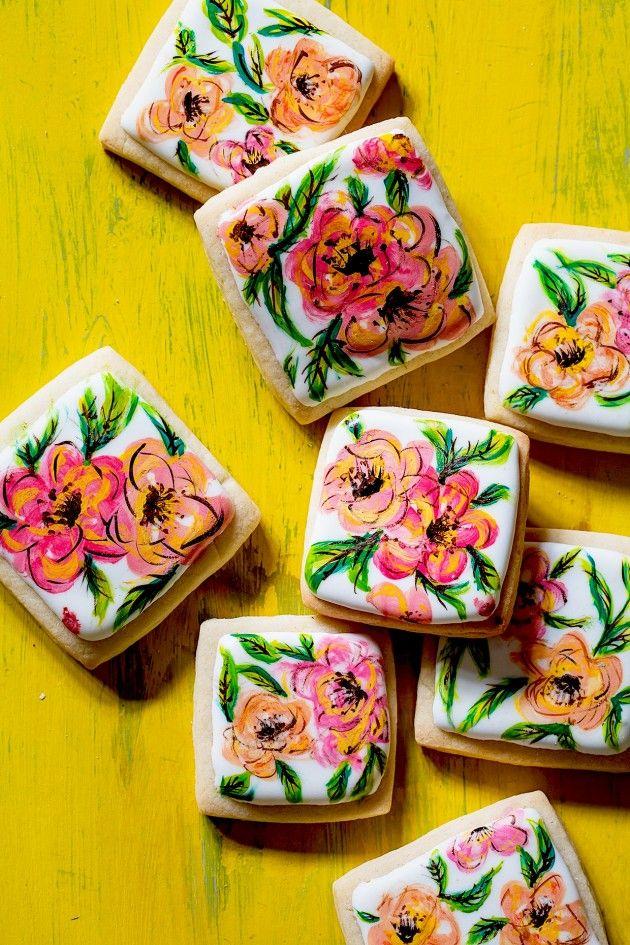 Hand Painted Flower Cookies   Bakers Royale