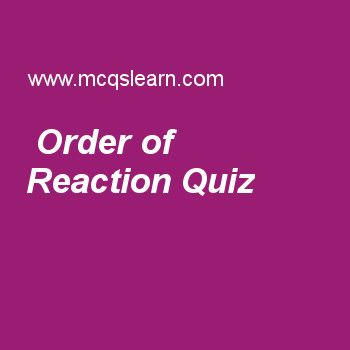 Order of Reaction Quiz