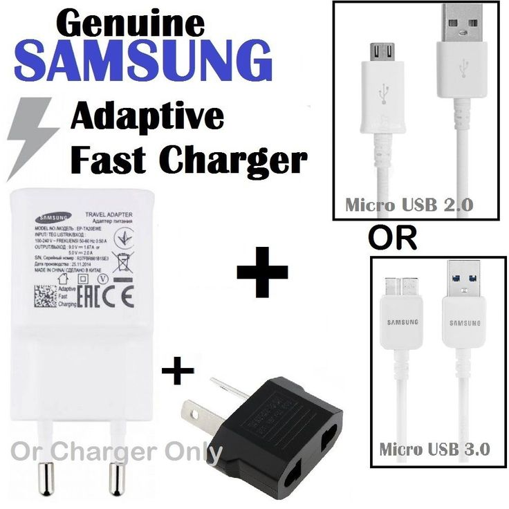 Genuine Samsung USB 9V FAST Wall Charger+Cable Adapter for Galaxy S4 S5 S6 S7Edg