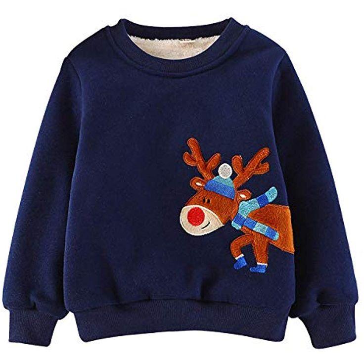 EULLA Jungen Mädchen Fleece Sweatshirt Kinder Elk Pullover Baumwolle Top 92 98 …