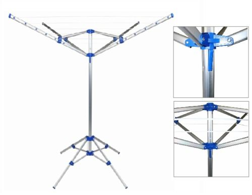 Free Standing Clothes Rotary Airer Portable Washing Line 4 Arm Laundry Aluminium #Unbranded