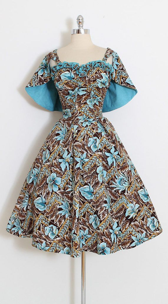 ➳ vintage 1950s dress  * beautiful tropical print cotton * smocked bodice * hidden skirt pockets * button off capelette * by DeWeese Designs  condition | excellent  fits like xs/s/m  length 45 bodice 17 bust up to 38 waist 24-28 hem allowance 1.75   ➳ shop http://www.etsy.com/shop/millstreetvintage?ref=si_shop  ➳ shop policies http://www.etsy.com/shop/millstreetvintage/policy  twitter | MillStVintage facebook | millstreetvintage ins...