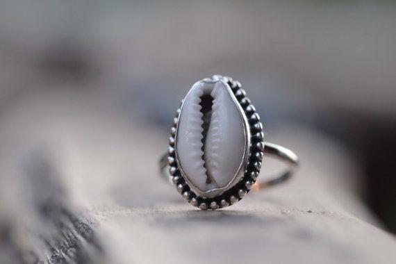 Cowrie Shell Ring, Boho Anéis, Cowrie Shell jóias, anéis de prata, Bohemian Anéis, Sterling Jóias Artesanais