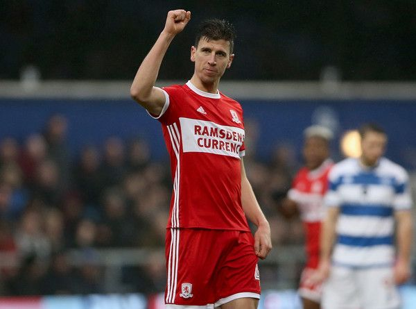 Daniel Ayala of Middlesbrough celebrates scoring his side's first goal during the Sky Bet Championship match between Queens Park Rangers and Middlesbrough at Loftus Road on January 20, 2018 in London, England. - 2 of 17