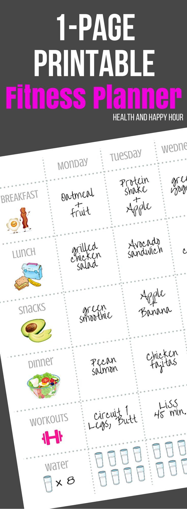 Fitness planners and journals can be powerful weight loss tools according to recent studies. Get your free print out today and get started! http://healthandhappyhour.com/1-page-printable-fitness-planner/