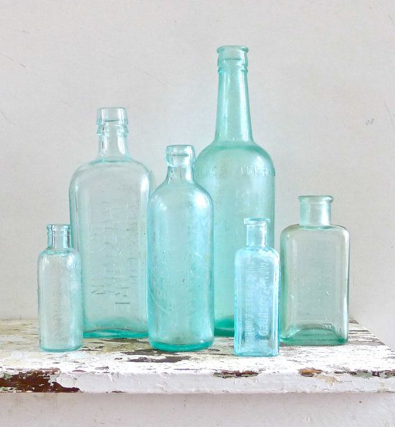 Vintage Aqua Glass Embossed Instant Bottle by marybethhale on Etsy