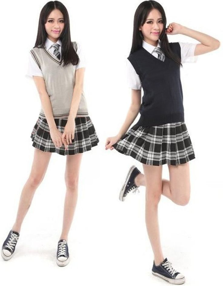 Cheap skirt frame, Buy Quality skirt jumpsuit directly from China skirted bedspread Suppliers:  Japan Korea Girl Vest Sweater Uniforms Student School Uniform V-neck Mercerized Cotton Vest Short/Long Sleeve Shirt Pla