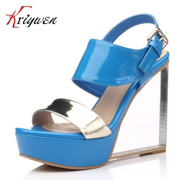 2017 Yaz mavi sandalet yüksek topuklar parti ayakkabı siyah bohemia kadın ayakkabı ayakkabı hakiki deri sandalet lady artı boyutu 33-40   32804417549_pt